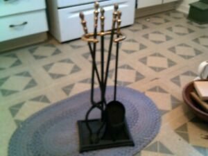 Fireplace Tool Set - Painted Flat Black Excellent Cond