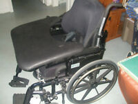 preowned, like new, PATRIOT WHEEL CHAIR, padded tray & seats