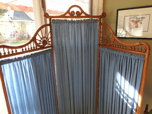 Antique Victorian Folding Oak Dressing Screen/Room Divider C1900