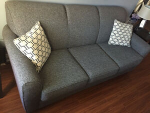 $300 OBO - Beautiful and oh so comfortable fabric blue/grey sofa