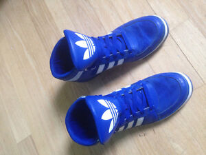 Bright blue Adidas shoes