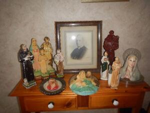 Lot De Statut Religieuse & Une Photo Antique