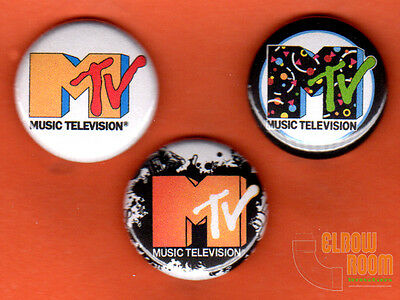 "Set of three 1"" MTV pins buttons 80s music television"