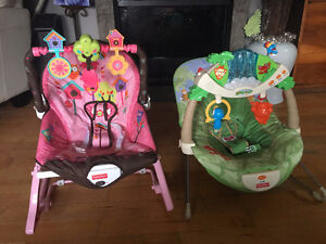 2 infant interactive bouncer chairs with sound