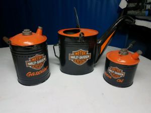 Vintage Harley oil and water gas cans