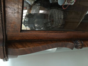 Victorian Antique Oak Curved Glass China Cabinet Kitchener / Waterloo Kitchener Area image 7