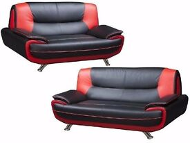 ❤Black/White, Black/Red, Grey/White❤BRAND NEW ITALIAN DESIGN: LEATHER CAROL 3 + 2 SEATER SOFA SUITE❤
