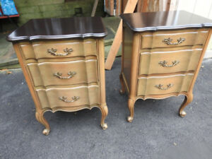 pair vintage bed or sofa side tables Fr. Provincial  style