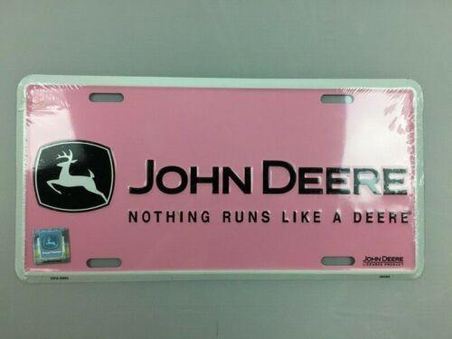 "John Deere Pink Black White Logo Vanity Plate/Sign 12""x6"" METAL NEW (Unopened)"
