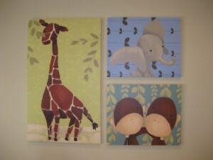 Oopsy  Daisy Canvas Wall Art for Kids - Elephant, Giraffe, Monke