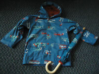 Boys Size 7 Hatley Rain Coat with Matching Umbrella Angry Planes