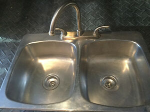 Stainless steel double sink and faucet