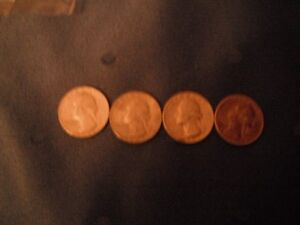 Coins - Four U.S.A. Quarters - 1960's Circulated Condition