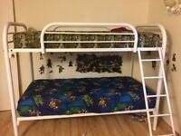 White metal single over single bunk beds