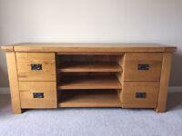 Solid oak tv unit £230