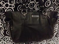 Authentic black Leather Coach bag