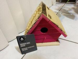 NEW: WOOD AND CERAMIC BIRD HOUSE - $15 EACH (NO TAX)