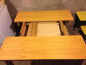 Solid Wood Table w/ built in leaf