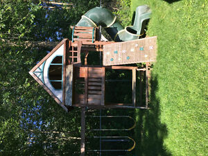 Large cedar outdoor play structure