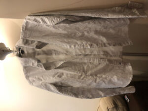 Large Grey and white striped blouse asking $5 new never worn
