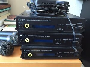 4 TOA wireless microphones & 3 tuners (WT-4800)