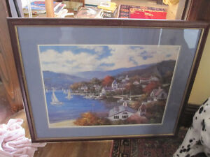 Art Framed Painting Coastal Village Scene