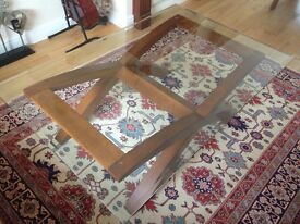 Glass and chestnut solid wood base coffee table immaculate condition