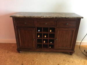Solid Buffet/Wine/Bar cabinet with Marble top