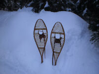 snowshoes, old wooden with leather cord, unusable ...