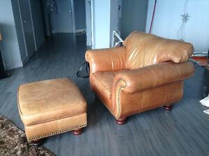 Leather armchair, ottoman and sofa