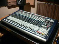 24 Channel Soundcraft GB4 mixer with custom case, like new!