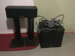 "12"" Sub, Center Speaker, Speaker stands and cables"