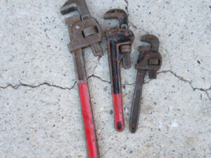 """3 PIPE WRENCHES = 18"""" , 12"""" & 10"""""""