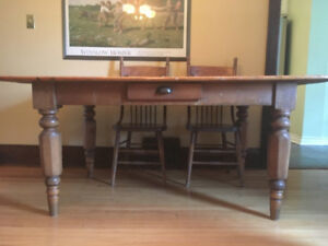Dining Table, Pine Harvest and Six Hardwood Press-Back Chairs