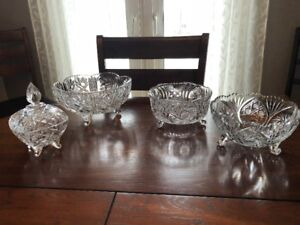 Crystal Bowls-Pinwheel Lead (Bowls and Candy Dish) FOR SALE