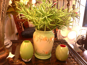 3 pc. Lime green vase w 2 glass ornaments. Fern type branches.