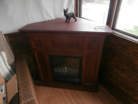 one fire place electric heater with flame has a back pleat for c