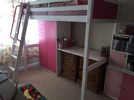 Girls single high sleeper with wardrobe and desk
