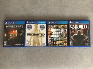 PS4 GAMES FOR SALE - GTA 5, BLACK OPS 3, UNCHARTED, MINECRAFT
