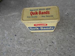 1-BOITE EN METAL,REXALL QUICK-BANDS 45 UNITES,ANTIQUE.
