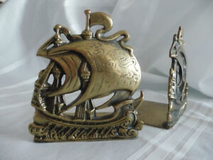 PAIR OF BRASS BOOK ENDS SHIPS