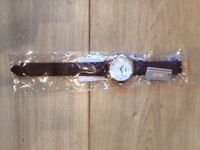 New mens watch with brown leather strap