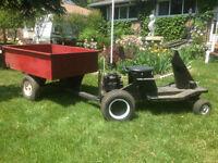 garden tractor  and dumper trailer