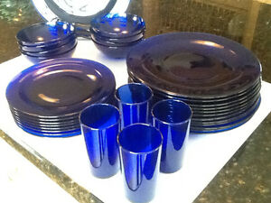 Blue Glass Dish Set