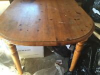 Dining Table FREE. - Solid Wood oblong rounded shape, chairs. FREE