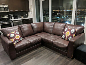 Brown Leather Sectional - $225 OBO