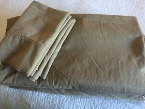 Queen Size Tan Sheet set + 4 pillowcases