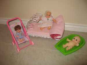 Toys for Girls - Baby Dolls Play Set w/ Stroller, Bed, Bathtub