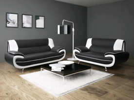 Pamero 3+2 seater white/ blk sofa