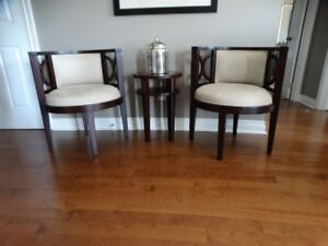 Two occasional chairs and matching side table.